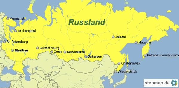 Russland Landkarte mit einer Übersicht der größten Städte